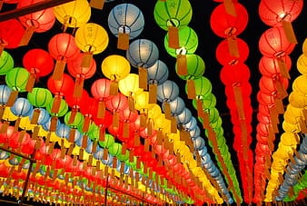Red yellow and green paper lanterns