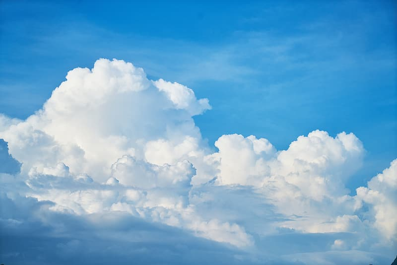 White clouds and clear blue sky