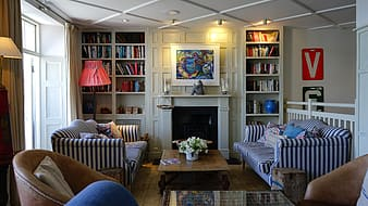 White-and-blue striped couches