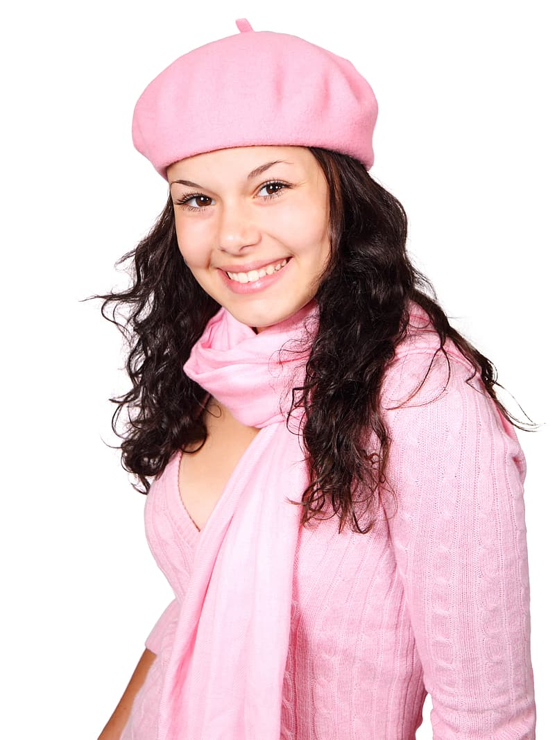 Women's pink long-sleeved shirt and scarf with hat