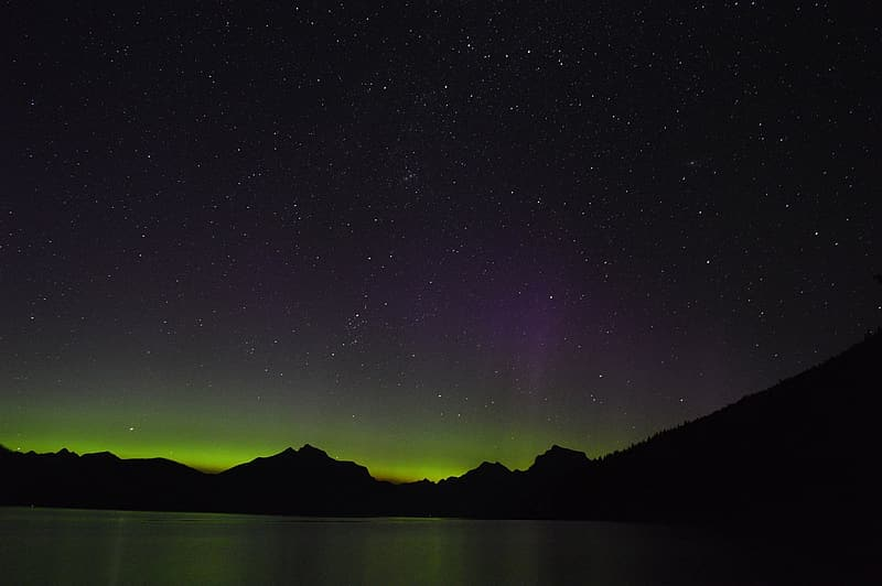 Silhouette photography of mountains and aurora lights