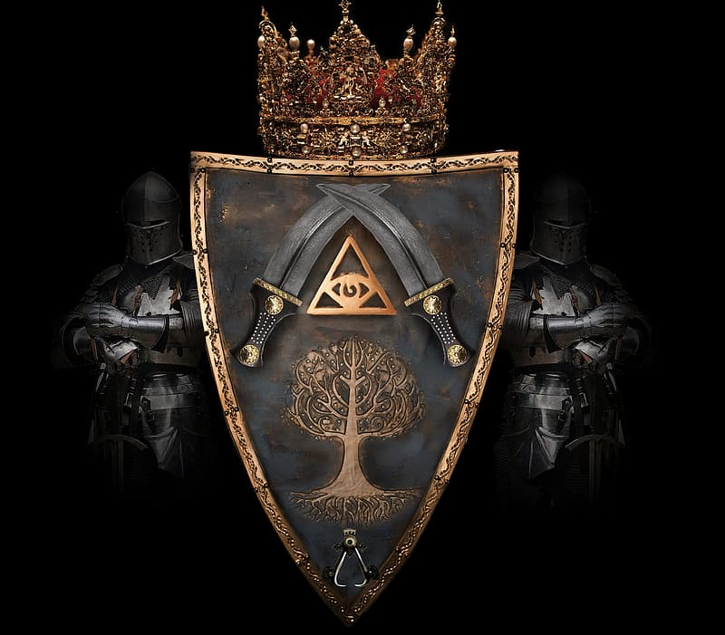 Gold and black shield with sword