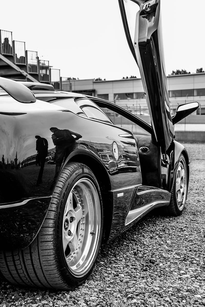 Grayscale view of sports car