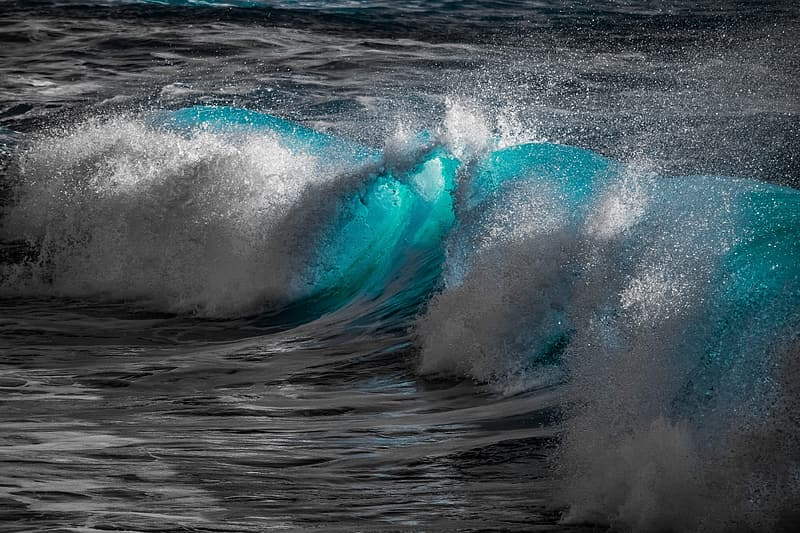 Selective color photography of ocean waves
