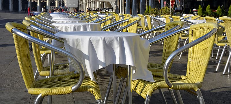 Yellow-and-gray bistro set