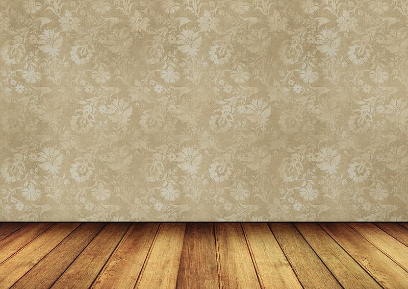 White and brown floral wall