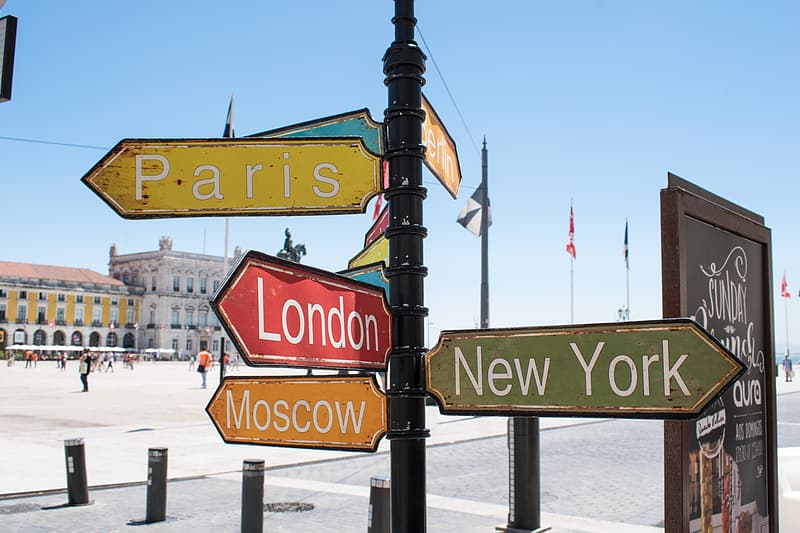 Paris, London,Moscow, and New York signage