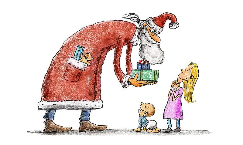 Santa claus giving gift to child illustration