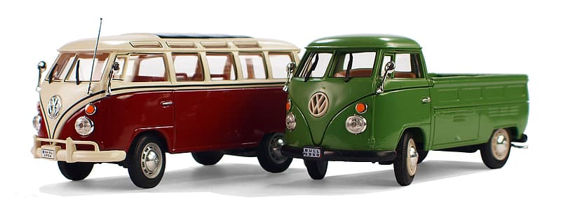 Two green and red Volkswagen T1