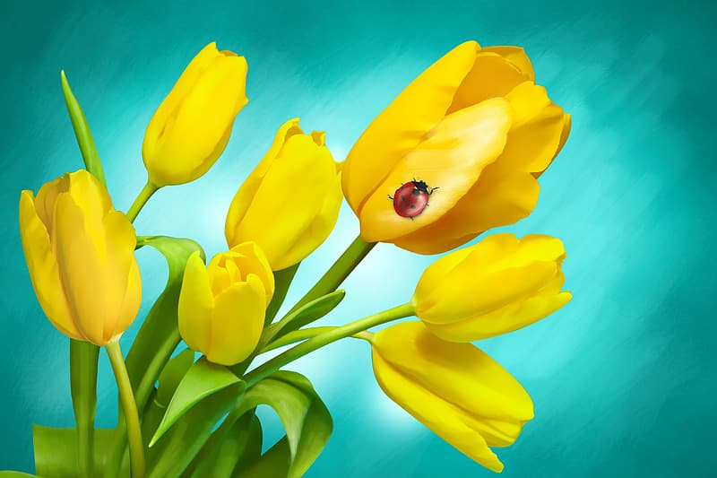 Red ladybug perched on yellow tulip painting