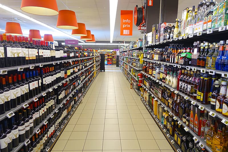 Grocery wine bottle section