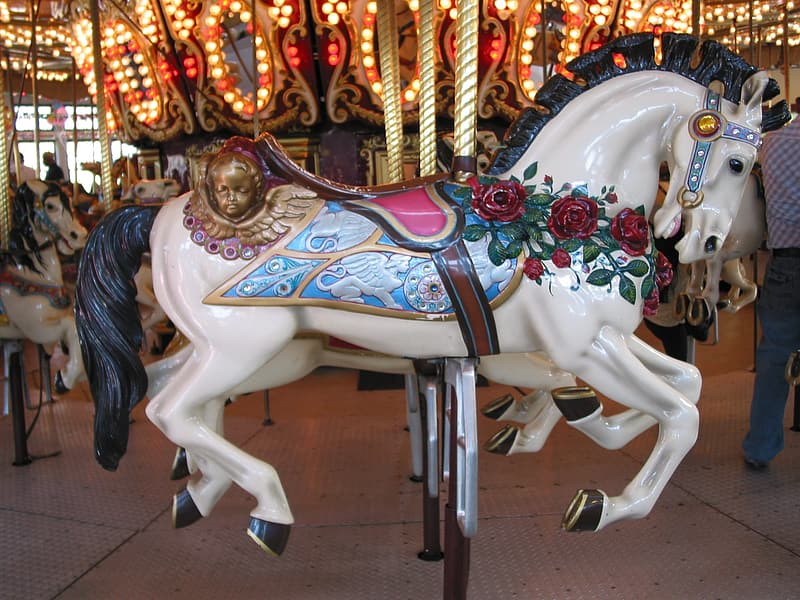 Photo of white and blue horse carousel