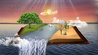 Trees, river, clouds, and sun illustration