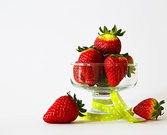 Food photography of bowl of strawberry fruits