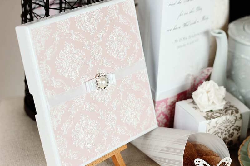 White and pink floral card
