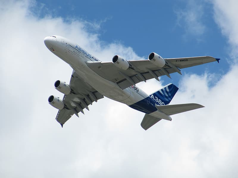 Low angle photo of white and blue airplane flying in sky at daytime