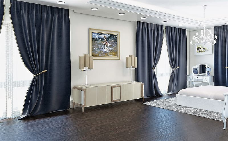 White wooden bed frame beside black window curtain