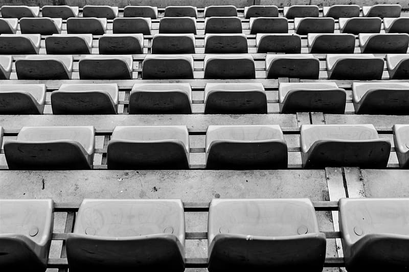 Empty gray seat lot at daytime