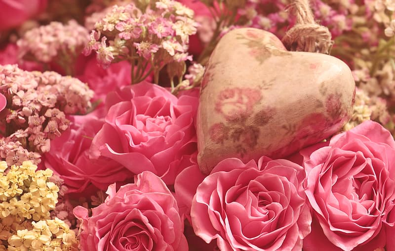 Pink roses and white heart stone