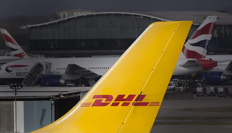 DHL airplane tail close-up photo
