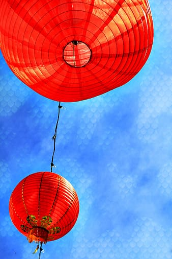 Close-up photography of round red lanterns