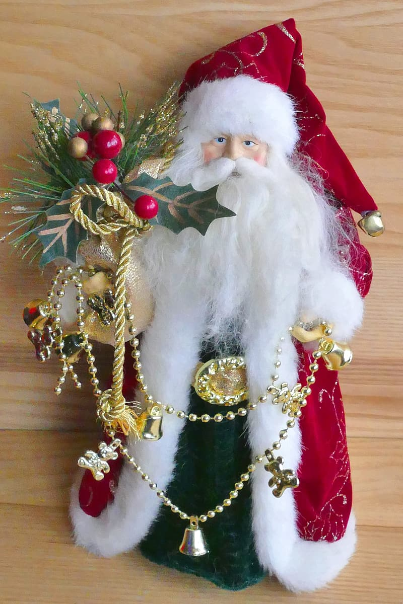 Santa claus with red and gold ribbon