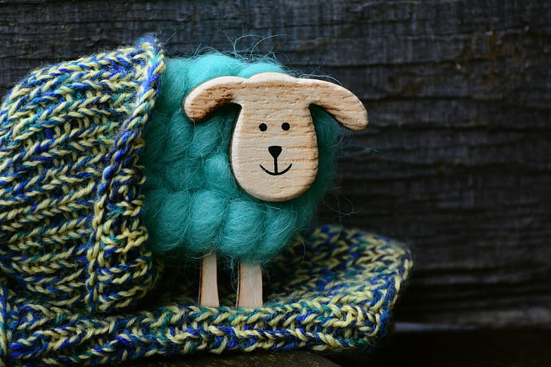 Blue and green knit textile