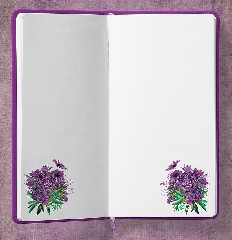 Purple and white floral frame