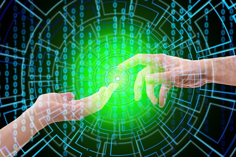 Person's hand with matrix code