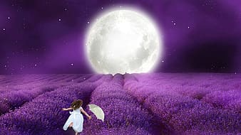 Girl in white dress standing on purple flower field during night time