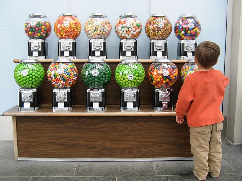Assorted color candy with dispensers