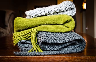 Gray and green knit textile
