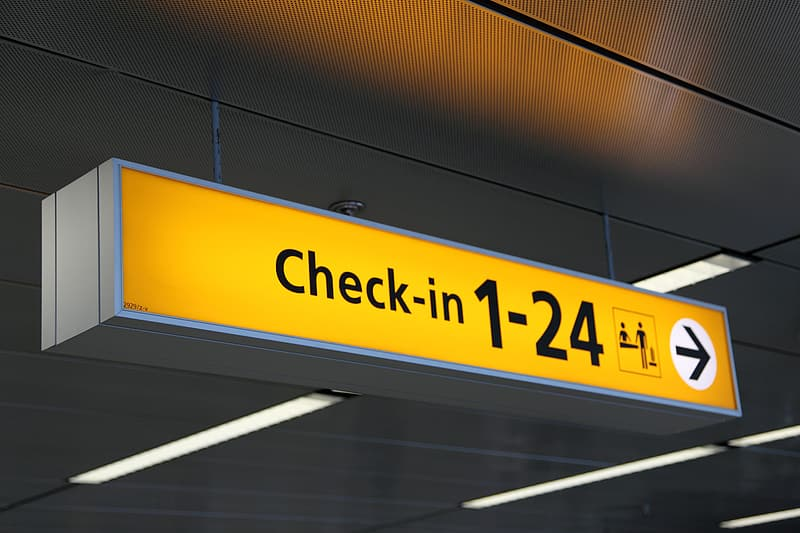 Check in 1-24 signage