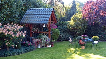 Water well with canopy on garden