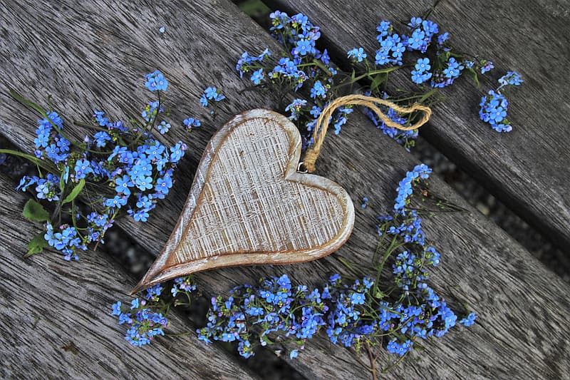 Brown and white heart shaped wooden decor
