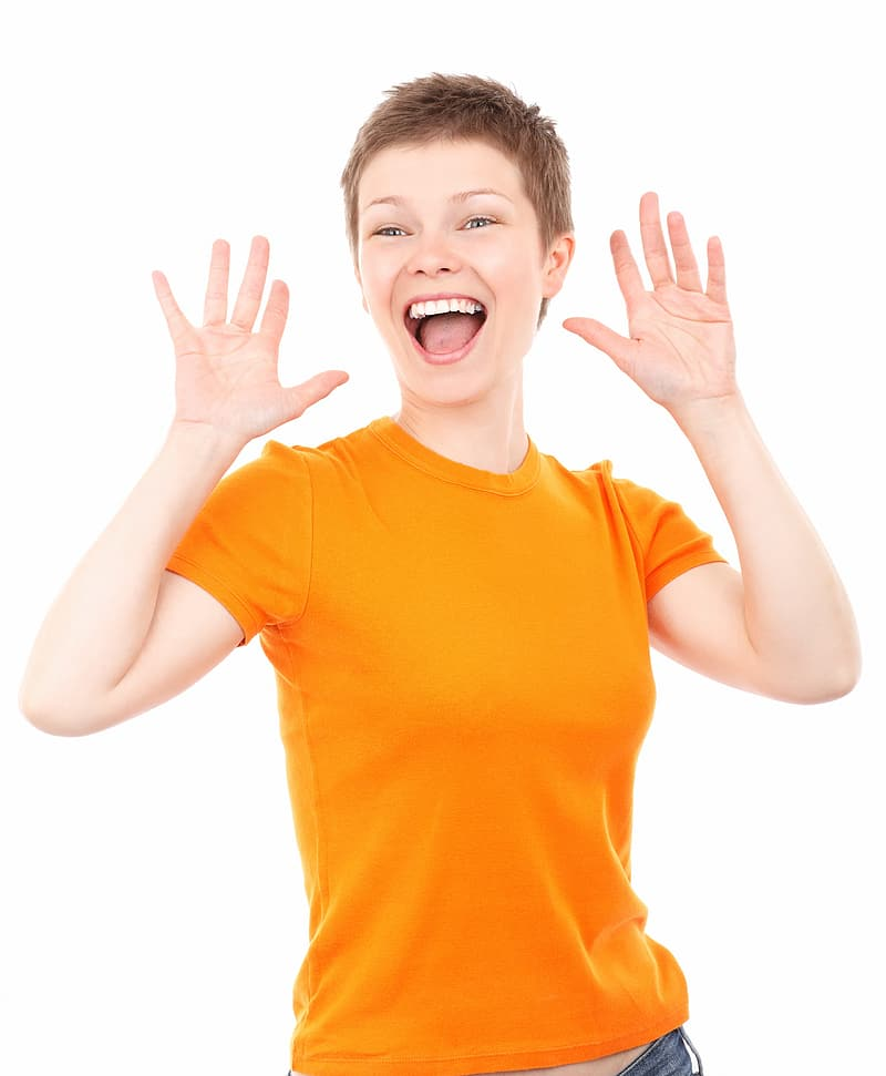 Woman wearing orange crew-neck t-shirt