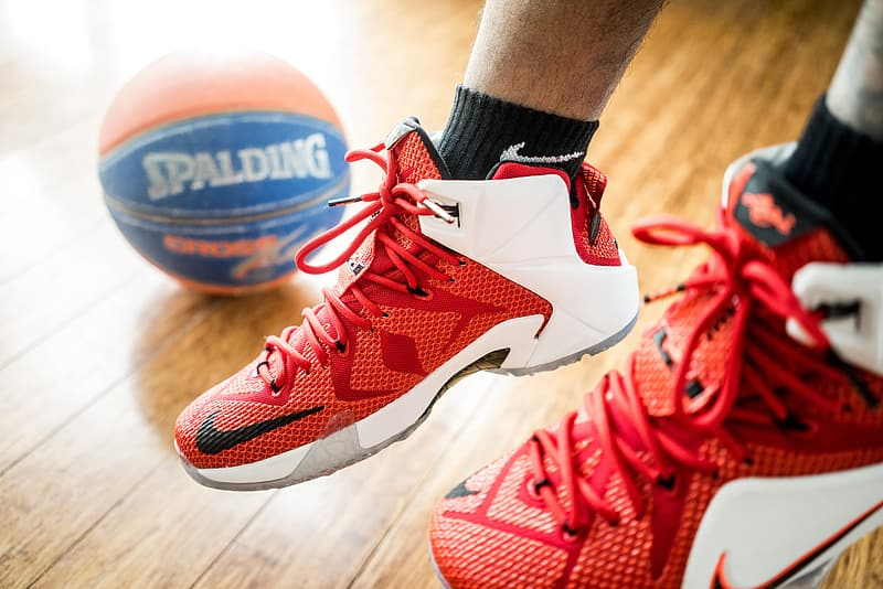Red-and-white Nike basketball shoes