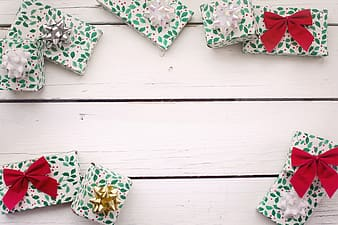 White red and green floral gift boxes