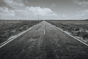 Grayscale photography of road