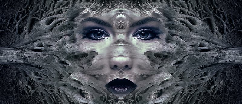 Illusion photography on woman's face