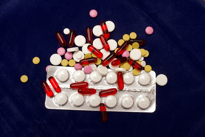 Assorted-color medication pill lot