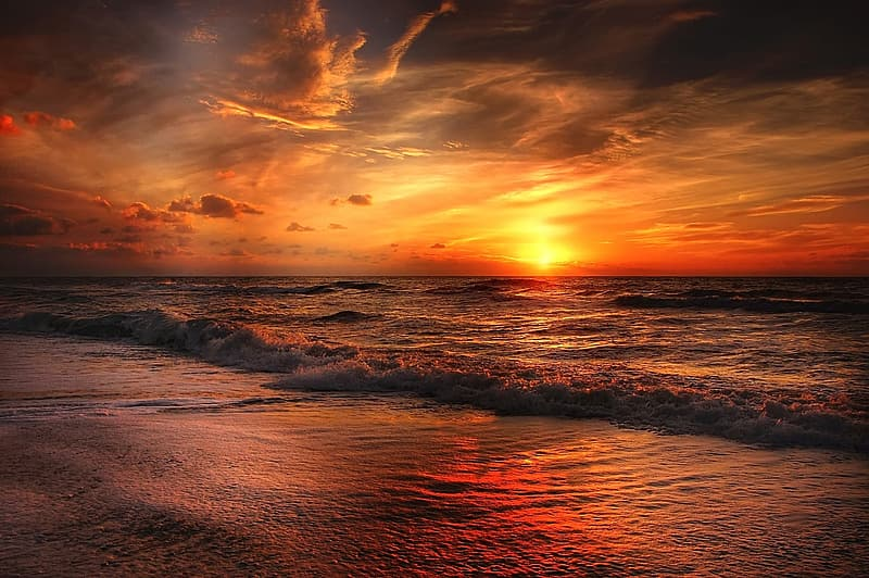 Photo of sunset on ocean under gray and white clouds