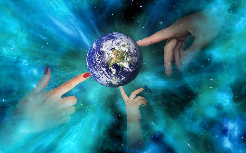 Person holding blue and black planet earth