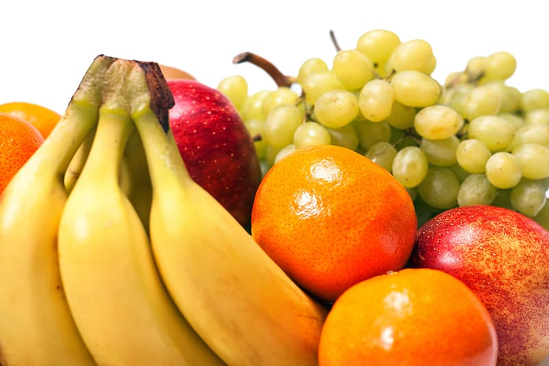 Red apples and yellow bananas