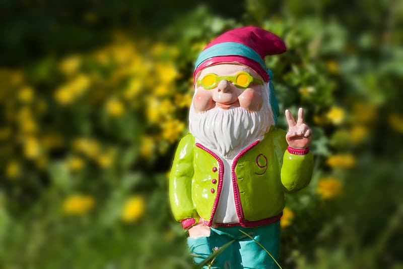 Dwarf with peace sign figurine