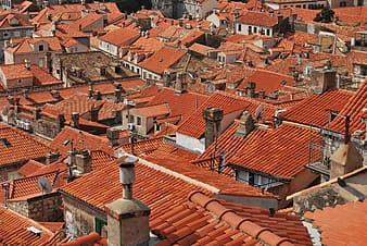 Orange roof houses