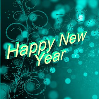Blue background with Happy New Year text overlay
