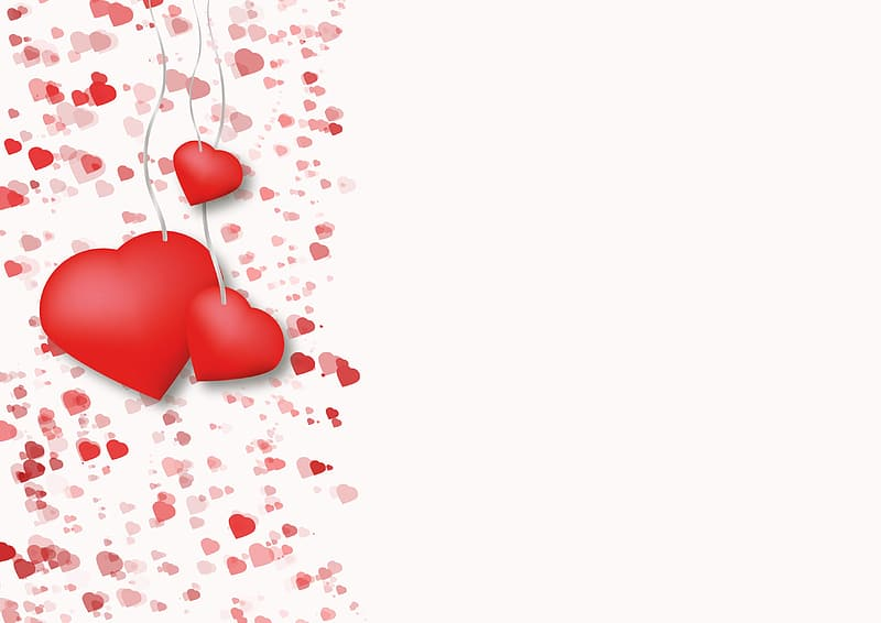Red heart balloons on white background