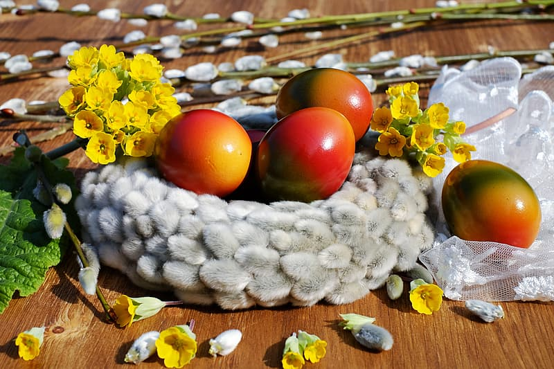 Close up photography of red eggs decors