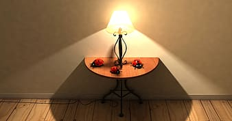 Table lamp on side table